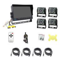 truck  AHD camera rear view 9 inch quad split screen monitor rearview 120 degree night vision security  360 truck camera system PZ613-4AHD